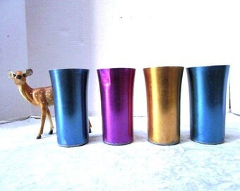 Vintage Aluminum Tumblers, 4 Glasses, Bascal, Shabby Cottage Chic, Retro Drinking Glasses, 1940s 1950s, Shiny, Blue Gold Purple, USA, Kids