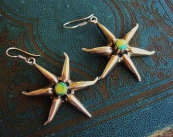 Vintage Mexican Sterling Silver Earrings Glowing Stone Star Design Turquoise Yellow Stone Large Earrings Statement Mexico 925 Bohemian Chic