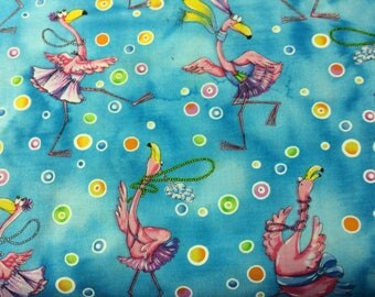 Pink Flamingos Print 100% Cotton Fabric