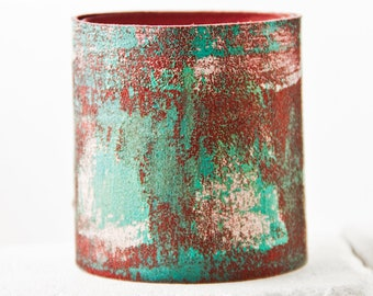 extra wide leather cuff - leather jewelry bracelet - abstract painting