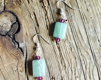 Green glass and purple crystal earrings. Silver wire wrapped with silver earring hooks