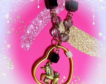 Unicorn gold necklace fairy kei hand made