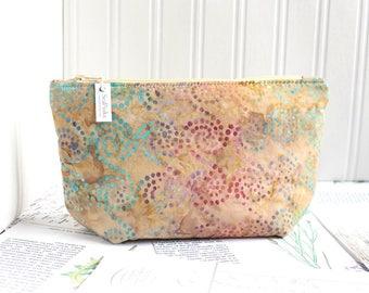 Pastel Batik Cosmetic Bag Makeup Bag Pastel Colors Zipper Pouch Organizer Modern Print