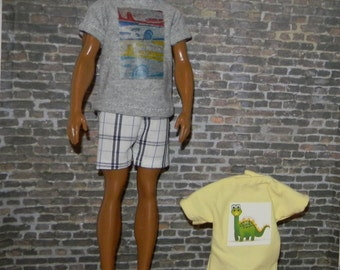 K3PC-26) Ken doll clothes, 2 printed T shirts with 1 shorts