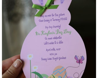 10 Easter Bunny Birthday Invitation or Easter Luncheon Brunch Invitation