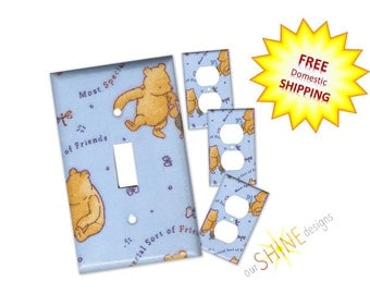 Classic Pooh Switch/Outlet Covers - Nursery Decor, Nursery Wall Decor, Classic Pooh Switchplate, Classic Pooh outlet - Blue switch cover
