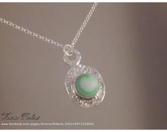 """Sea Glass Necklace - green swirl marble in fine silver w 18"""" ss rollo chain"""