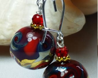 Precious earrings in Murano glass Red