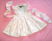 Ready to Ship. Size 3T Pinafore Dress in Pink Embroidered White Cotton with Satin Ribbon Trim