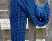 Bulky Ribbed Scarf, Hand Crocheted, Alpaca Blend Snuggle Yarn, Winter Sky