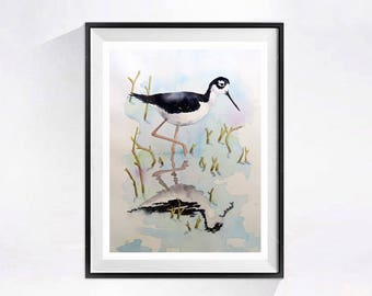 Beach Landscape Shore Bird,  Original painting, Coastal bird, Seashore art, Watercolor black white painting, Nautical wall art 14 x 10 in C