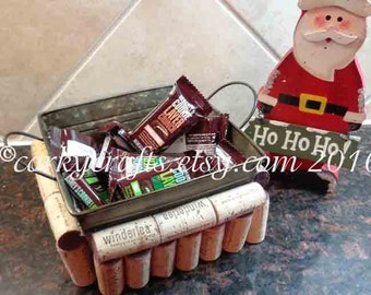 Wine cork  basket,  gift card holder, candy basket, rustic wedding, ring bearer, party decor