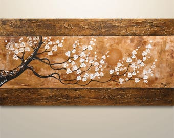 Home Decor, Abstract Painting, Tree Painting, Landscape, Cherry blossom, Flowers, Abstract Wall Art, home decor, original painting