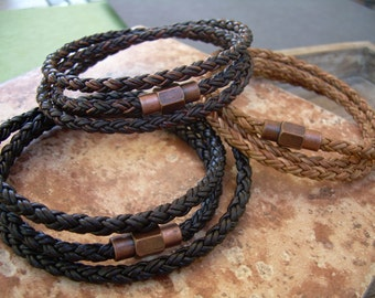 Leather Bracelet with Copper toned Brass Magnetic Clasp, Mens Triple Wrap Braided, Mens Jewelry, Mens Bracelet, Leather Bracelet, Wrap