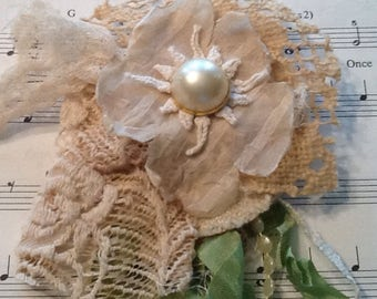 Lace and fabric flower pin, brooch, tattered, cottage chic, wedding corsage