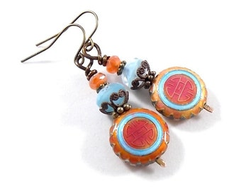 Coral and Blue Metal Earrings - Antique Brass Earrings - Round Earrings - Blue Earrings - Coral Earrings - Swirl Earrings - Wires -E025