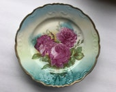 Lovely Antique Plate with Large Cabbage Roses - Pink and Teal