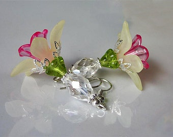 Flower Earrings Crystal and Lucite Bridal Jewelry Bridesmaid Clear Crystal Bead Flower Yellow & Pink Lucite