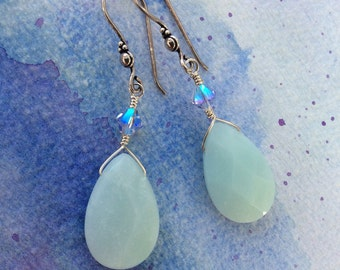 FREE SHIPPING Sterling Silver Wire Wrapped Pale Blue Stone Amazonite Dangle Earrings