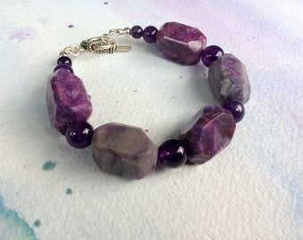FREE SHIPPING Chunky Purple Stone Amethyst Purple Agate Sterling Silver Toggle Clasp Bracelet