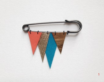 ICICLE metallic and colourful leather brooch - coral, blue, gold, yellow ochre