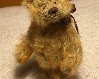 Miniature Hand Sewn 3in. GOLDEN ORANGE Mohair Teddy Bear