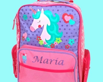 Personalized Stephen Joseph Rolling Luggage UNICORN Themed for Children-Full MonoGramming Instructions Required To Complete  Your Order