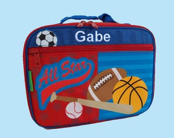 Stephen Joseph Child's Personalized SPORTS Themed Lunch box-Monogramming Included