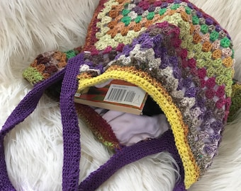 Crocheted handbag; granny square