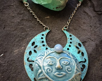 Man in the Moon Turquoise Pendant