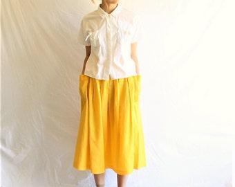 80s vintage linen cotton midi skirt yellow