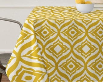 Yellow Geometric Tablecloth // Table Linens // Dining Room // Trevino Design // Yellow Gold // Table Decoration // Retro Style // Home Decor