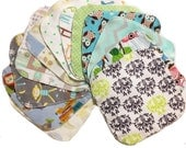 Sale - Mystery Set - 8x8 Sweet Bobbins Cloth Wipes Starter Set of 12 wipes -  Double Layer Flannel  - 8x8