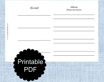 Guest Registry Book Page - Customized Digital Copy Printable