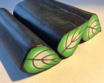 Polymer Clay Cane, Green Leaf, Raw, Unbaked Clay
