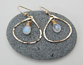 moonbeam. rainbow moonstone and 14k gold fill hoops. aura jewelry. prism angel earrings. energy amplifier. moonstone earrings. yoga gift.