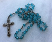 Vintage pale blue crystal rosary