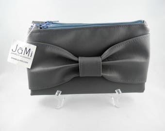 Grey Wallet, Bow Bag, Bow Wallet, Small Clutch, Bifold Wallet, Faux Leather Wallet, Credit Card Organizer, Vegan Leather Wallet, Bow Clutch