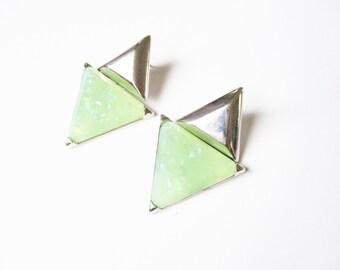 Silver triangle earrings: Stunning pale green glittery geometric plastic, silver tone pierced earrings, articulated triangle earrings
