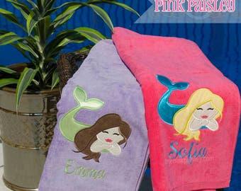 Mermaid Applique Beach Towel | Personalized Kids Beach Towel | Girl Beach Towel | Monogram Towel