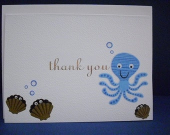 Set of 4 Ocean Themed Thank You Cards