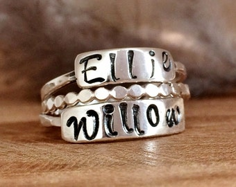 Sterling Silver Stackable Name Rings - Ring Gift Set - Custom Name Jewelry - Personalized Ring, Silver Stackers
