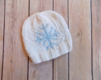 Newborn Baby Snowflake Hat, Knit Snowflake Beanie, White and Blue Baby Hat