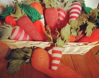 Cushy carrots play food from recycled fabrics