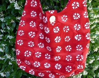 Batik tote bag, shoulder bag, large purse, red