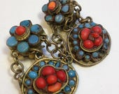 Vintage Boho ETHNIC Red and Blue CLip On CHANDELIER EARRINGS / Boho Chic Gypsy Earrings / Faux Turquoise & Coral/ As-Is
