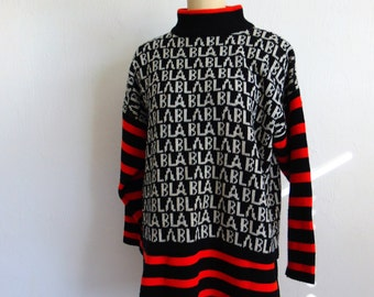 80s oversized acrylic novelty sweater BLA BLA BLA graphic print size medium