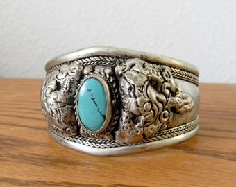 Vintage Tibetan Silver Double Dragon Bracelt with Turquoise
