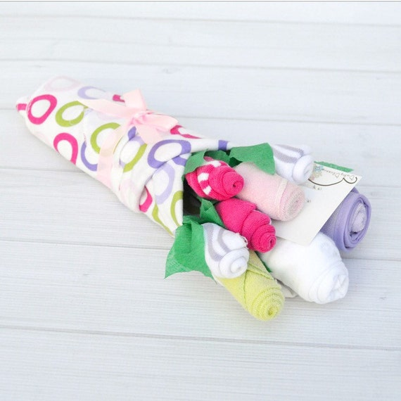 Girl Baby Gift, Baby Shower Gift, New Mom Gift, Pregnancy Gift, Flower Bouquet for Baby, Newborn Girl Clothes, Friend Baby Gift