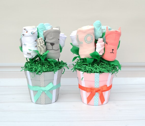 Girl Boy Twin Gifts, Baby Gift for Boy Girl Twins, Newborn Twin Gift, Flower Bouquet for Babies, Twin Baby Shower, Twin Baby Clothes